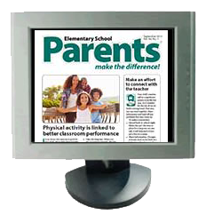 An image of a desktop computer with a front page from a Parents Make the Difference newsletter on the screen.