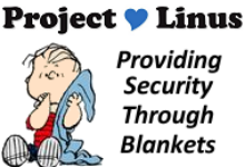 Charles Schulz's Linus with his blue blanket.